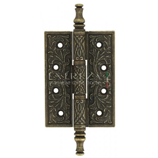 Дверная петля универсальная Extreza 6110 латунная с узором 102x76x4 античная бронза F23 (1шт.)